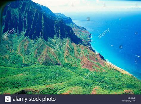 Hawaii Kauai Napali Coast Kalalau Valley Cliffs And