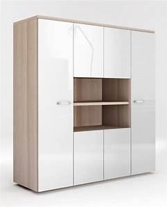 Armoire 6 Portes : armoire 6 portes calisma frene clair blanc brillant ~ Teatrodelosmanantiales.com Idées de Décoration