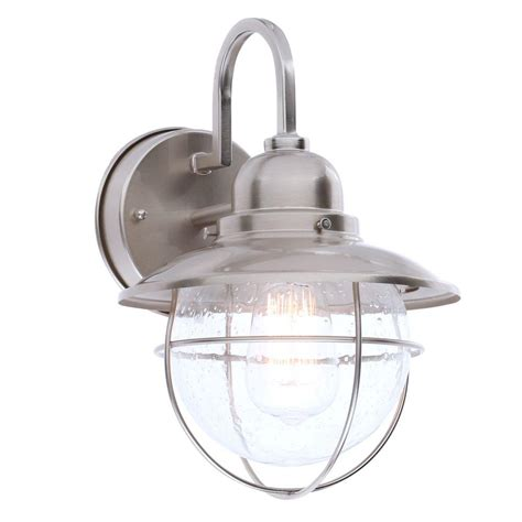 hampton bay  light brushed nickel outdoor cottage lantern