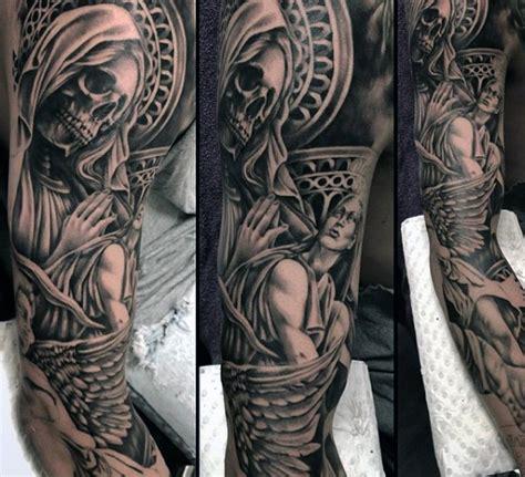 religious sleeve tattoos  men divine spirit designs