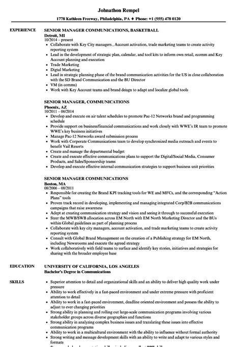 senior manager communications resume sles velvet