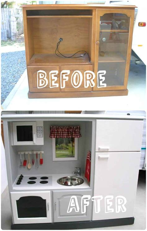 kids play kitchen   tv stand recyclart