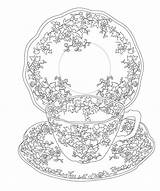 Tea Coloring Party Issuu Pages Elegant Cup Printable Sheets Mandala Flower Burning Patterns Wood sketch template