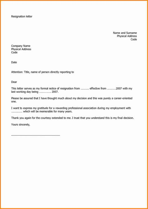 microsoft word letter  resignation template resign