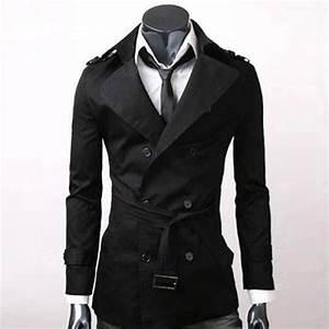 Trench Coat Homme Long : trench homme style anglais classique mi long elegant noir ~ Nature-et-papiers.com Idées de Décoration