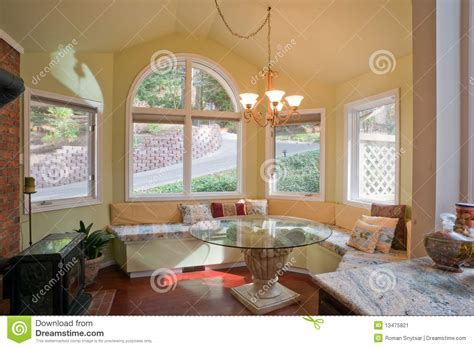 Luxury Kitchen Nook With Bay Window Stock Image   Image