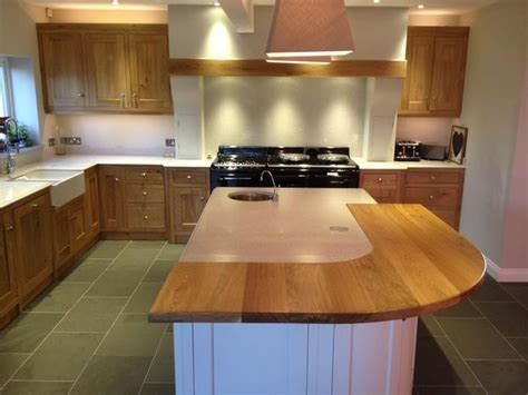 beautiful kitchen curved oak breakfast bar painted