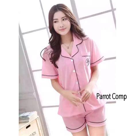 jual baru baju tidur lengan celana pendek bajutidur katun korea piyama wanita di lapak