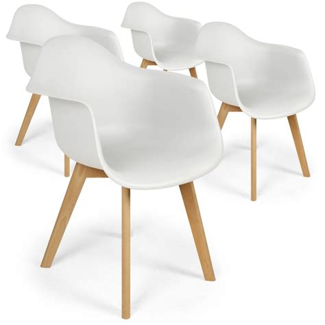 Chaises Scandinaves Design Daven Blanc  Lot De 4 Pas Cher