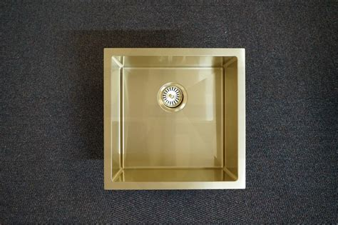 quad mm square light gold handmade stainless steel sink premium pvd homegear australia
