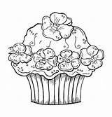 Coloring Cupcake Pages Cupcakes Birthday Cute Cake Happy Printable Print Cakes Sheets Flower Drawing Colouring Adult Hard Cards Getdrawings Ice sketch template
