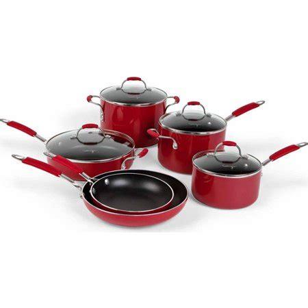 cooking  calphalon enamel nonstick  piece cookware set red walmartcom