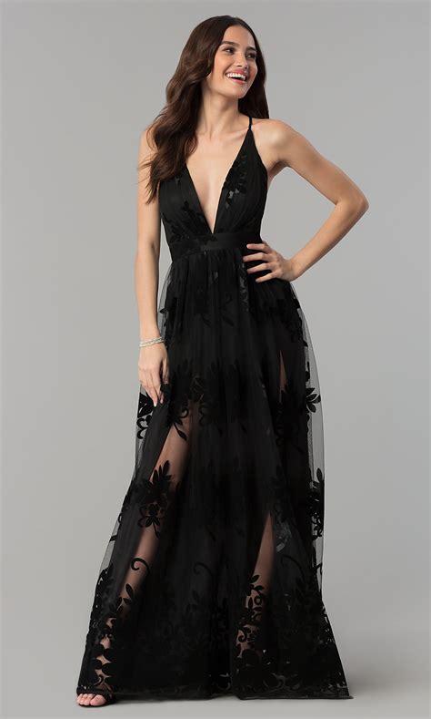 V-Neck Open-Back A-Line Formal Prom Dress - PromGirl ...
