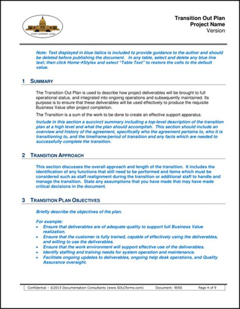 Contract Transition Out Plan Template by System Transition Plan Template Choice Image Template