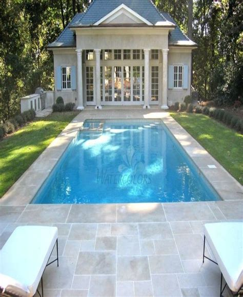 Beautiful Pool House W Indiana Limestone Pool Decking
