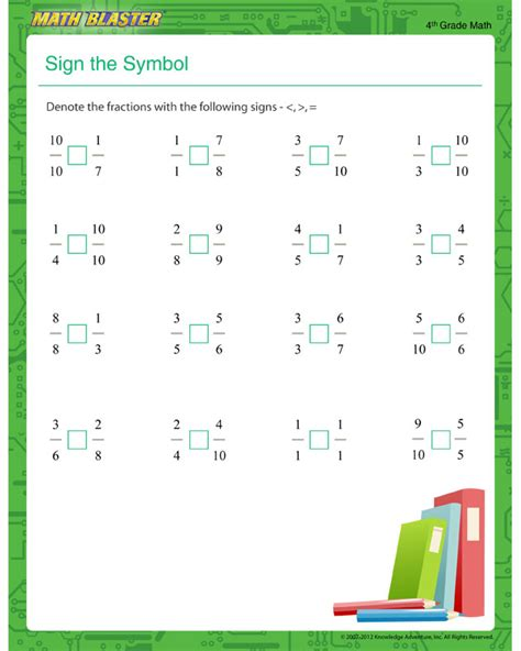 sign the symbol printable fraction worksheet for 4th