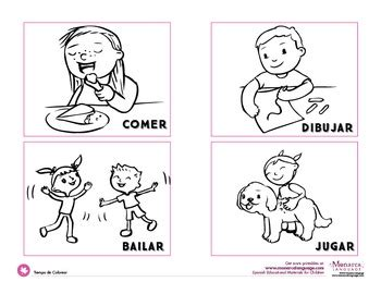 action verbs coloring pages spanish  monarca language