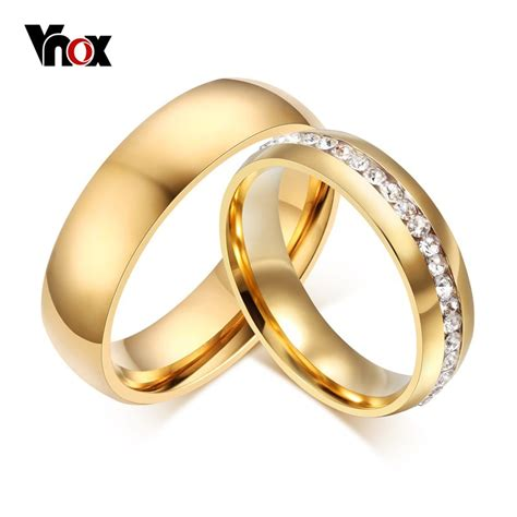 aliexpress buy vnox gold plated wedding bands ring for jewelry 6mm stainless