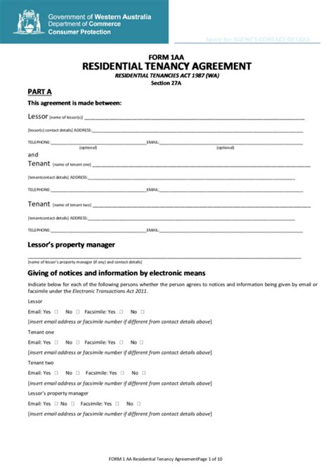 form aa residential tenancy agreement printable
