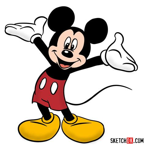 draw mickey mouse step  step drawing tutorials