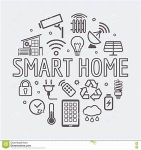 vector line home security icons set stock image With smart house alarm