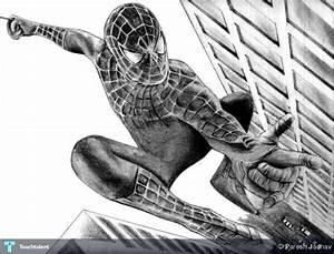 Drawn spiderman pencil sketch - Pencil and in color drawn ...