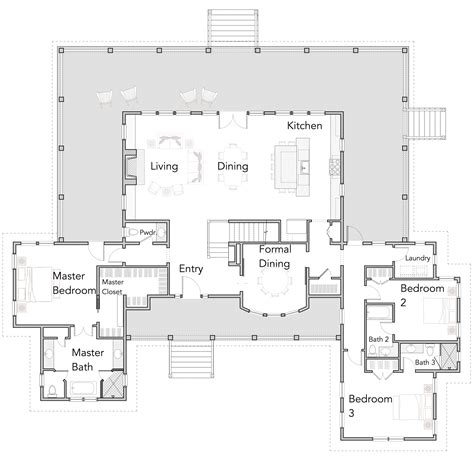 large open floor plans  wrap  porches rest