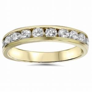 12ct 14K Yellow Gold Channel Set Diamond Wedding Ring EBay