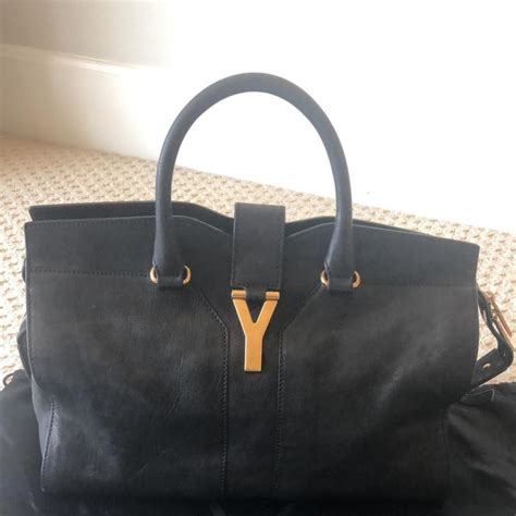 laurent chyc ysl chic like new bo cabas black leather tote tradesy