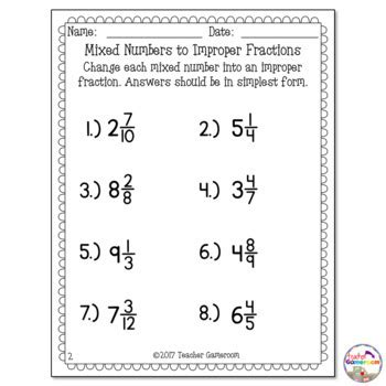 Mixed Numbers To Improper Fractions Worksheet By Teacher Gameroom