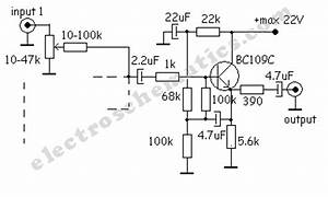one transistor audio mixer With audio mixer circuit one transistor audio mixer single transistor audio