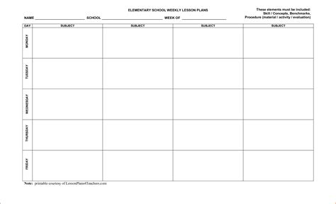 printable lesson plan template bookletemplateorg