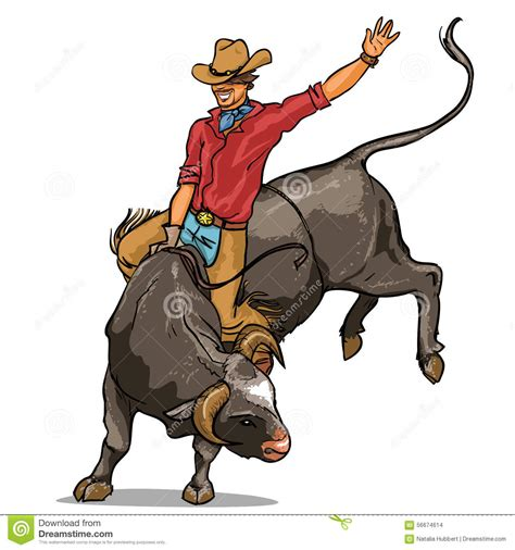 Cowboy Riding A Bull, Isolated Stock Vector - Image: 56674614