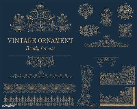 Vintage flourish ornament illustration free image by