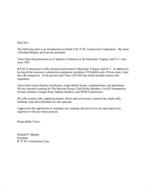company introduction letter company introduction letter format sle templates 20926