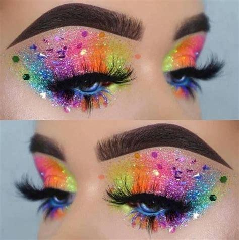 maquillaje arcoiris  glitter   glitter eye makeup eye makeup pride makeup