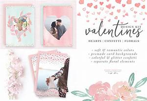 Watercolor Valentines Day Cards, Heart & Confetti PNG Clipart