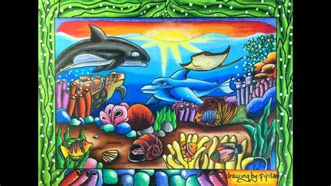 gradasi warna oil pastel tema pemandangan bawah laut