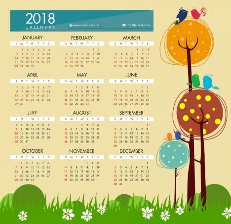 calendar month template hand 2018 calendar template hand drawn cartoon style vectors