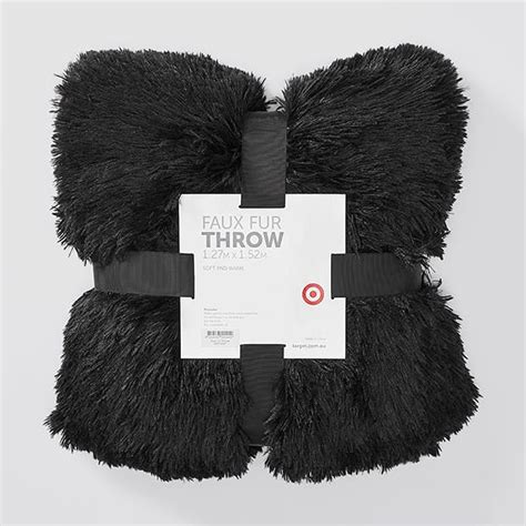 faux fur throw black target australia