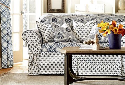 Loveseat Slipcover Pattern by The Amelie Collection Playfully Mixes Three Graphic Prints