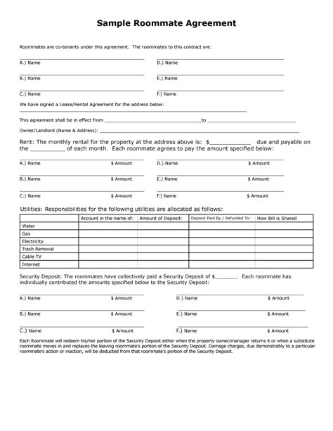 roommate agreement templates forms word