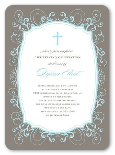 flourished border boy  christening invitations
