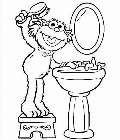 Coloring Brush Pages Sesame Street Hair Printable