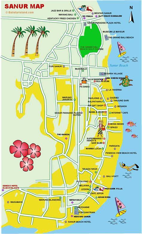 sanur bali map  travelers  visiting bali bali