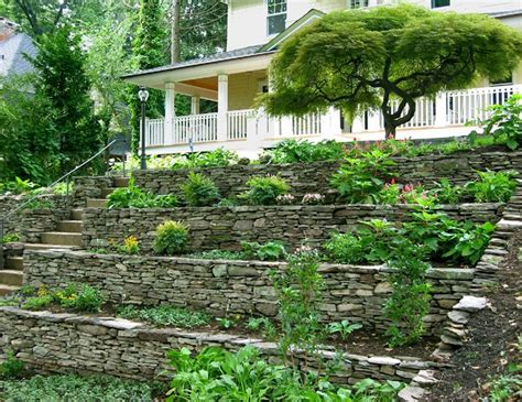 gardening on a hillside terraced rock garden au jardin pinterest