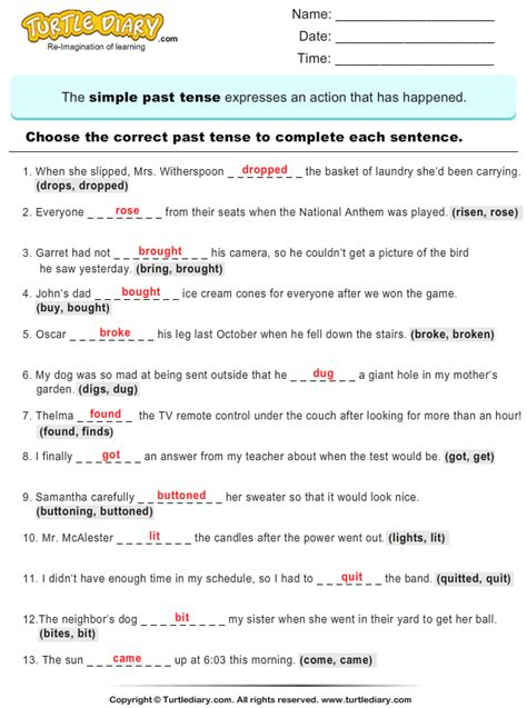 complete sentences by choosing correct past tense of verb