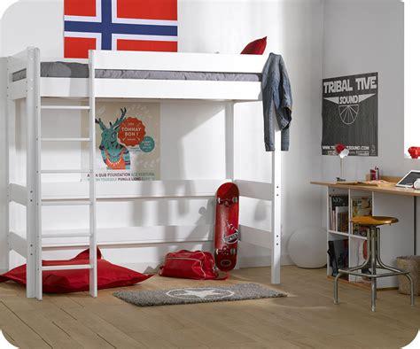 lit mezzanine enfant clay blanc achat vente mobilier bois