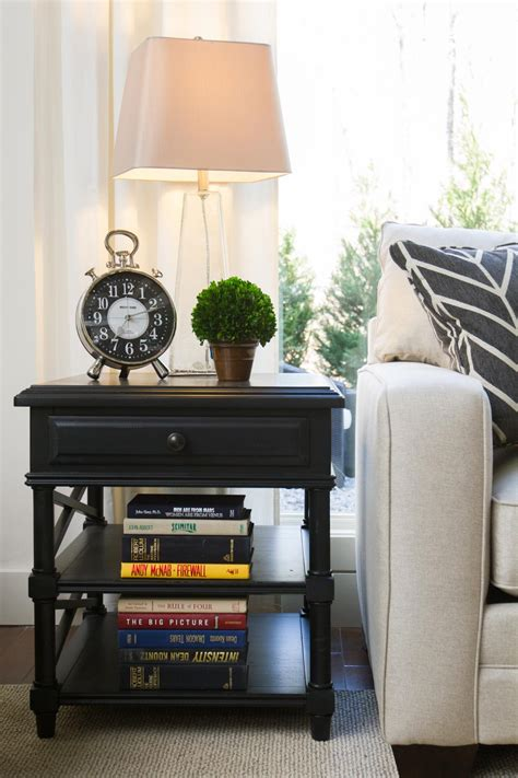 living room side table decor elbow room hgtv