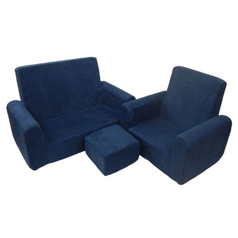 toddler sofa chair and ottoman set in navy blue microsuede